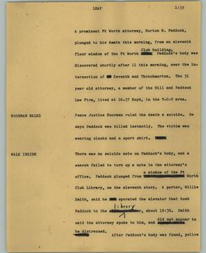 Primary view of object titled '[News Script: Leap]'.