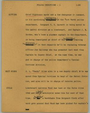 Primary view of object titled '[News Script: Police promotions]'.