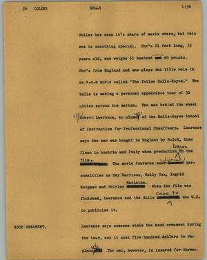 Primary view of object titled '[News Script: Rolls]'.