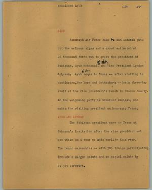 Primary view of object titled '[News Script: President Ayub]'.