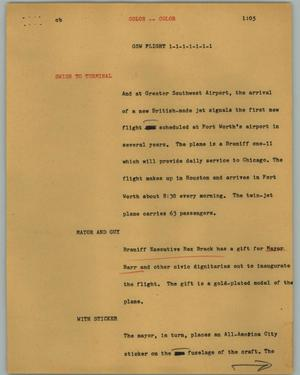 Primary view of object titled '[News Script: GSW flight]'.