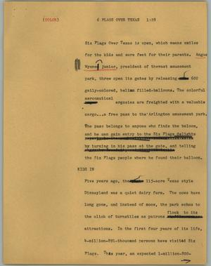 Primary view of object titled '[News Script: 6 Flags Over Texas]'.