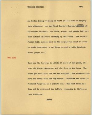 Primary view of object titled '[News Script: Wedding shooting]'.