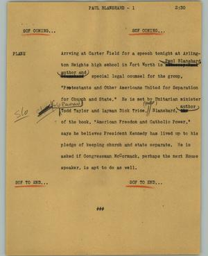Primary view of object titled '[News Script: Paul Blanshard]'.