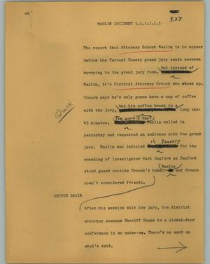Primary view of object titled '[News Script: Maclin incident]'.