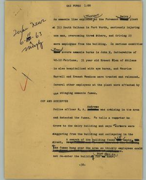 Primary view of object titled '[News Script: Gas fumes]'.