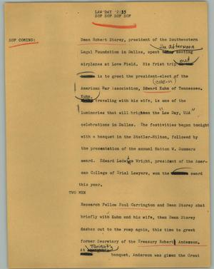 Primary view of object titled '[News Script: Law day]'.