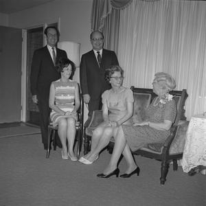 Primary view of object titled '[Helen Hewitt visiting with Leon Brown, Frances Brown, Kenneth Cuthbert, and Evelyn Cuthbert]'.