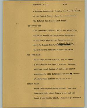 Primary view of object titled '[News Script: Brewster]'.