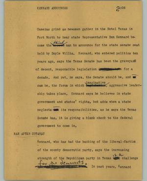 Primary view of object titled '[News Script: Kennard announces]'.