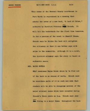 Primary view of object titled '[News Script: DA's new book]'.