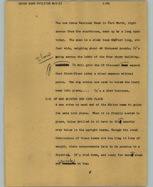 Primary view of object titled '[News Script: Union Bank building]'.