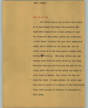 Primary view of object titled '[News Script: Truck thieves]'.