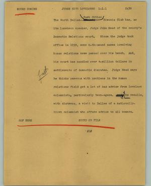 Primary view of object titled '[News Script: Judge hits lovelorns]'.