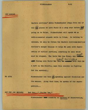 Primary view of [News Script: Rickenbacker]