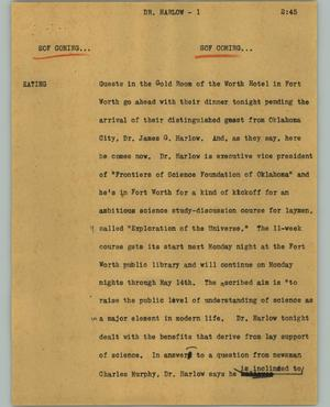 Primary view of object titled '[News Script: Dr. Harlow]'.