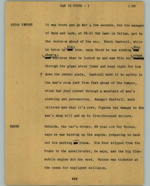 Primary view of object titled '[News Script: Car in store]'.