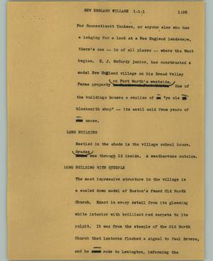 Primary view of object titled '[News Script: New England village]'.