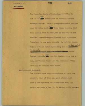 Primary view of object titled '[News Script: Indians]'.