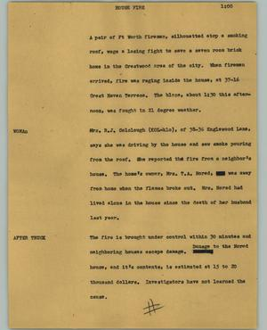Primary view of object titled '[News Script: House fire]'.