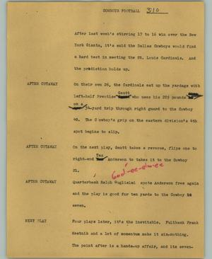 Primary view of object titled '[News Script: Cowboys football]'.