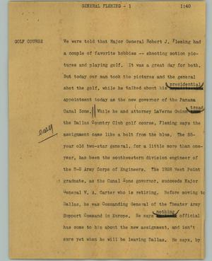 Primary view of object titled '[News Script: General Fleming]'.
