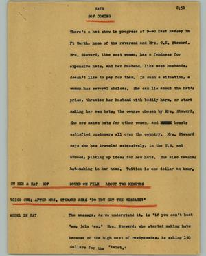 Primary view of object titled '[News Script: Hats]'.