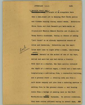 Primary view of object titled '[News Script: Juveniles]'.