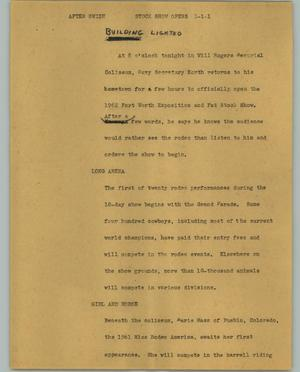 Primary view of object titled '[News Script: Stock show opens]'.