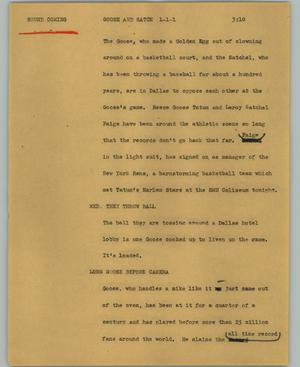 Primary view of object titled '[News Script: Goose and Satch]'.