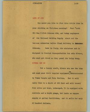 Primary view of object titled '[News Script: Submarine]'.
