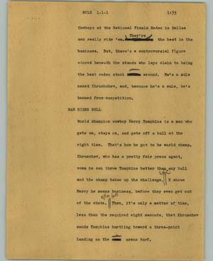 Primary view of object titled '[News Script: Mule]'.