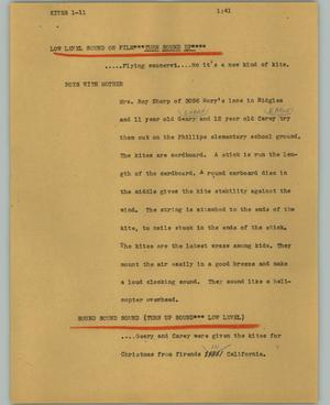 Primary view of object titled '[News Script: Kites]'.