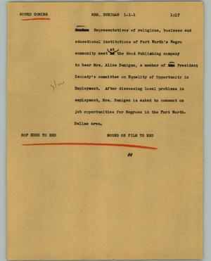 Primary view of object titled '[News Script: Mrs. Dunigan]'.