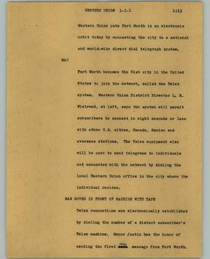 Primary view of object titled '[News Script: Western Union]'.