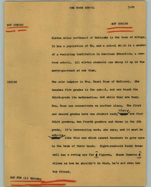 Primary view of object titled '[News Script: One room school]'.
