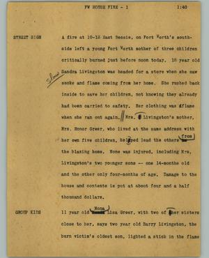 Primary view of object titled '[News Script: FW house fire]'.