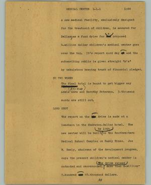 Primary view of object titled '[News Script: Medical center]'.