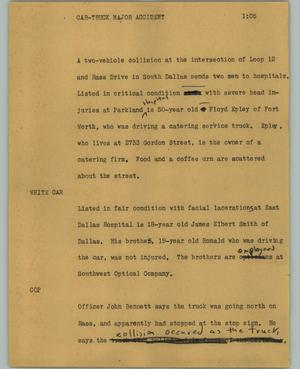 Primary view of object titled '[News Script: Car-truck major accident]'.