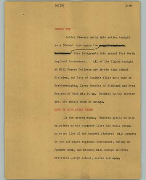 Primary view of object titled '[News Script: Boxing]'.
