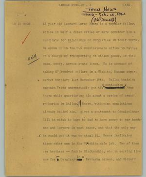Primary view of object titled '[News Script: Kansas burglar]'.