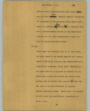 Primary view of object titled '[News Script: Politician]'.