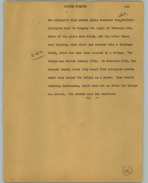 Primary view of object titled '[News Script: Bridge burning]'.