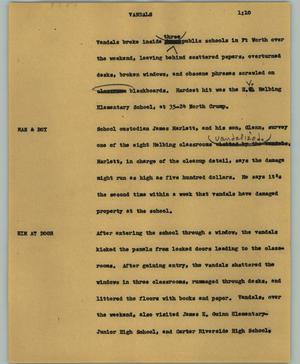 Primary view of object titled '[News Script: Vandals]'.