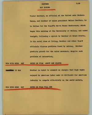 Primary view of object titled '[News Script: Reuther]'.
