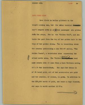 Primary view of object titled '[News Script: Golden girl]'.