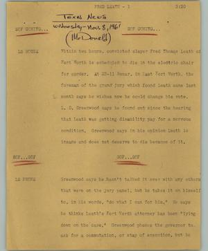 Primary view of object titled '[News Script: Fred Leath]'.