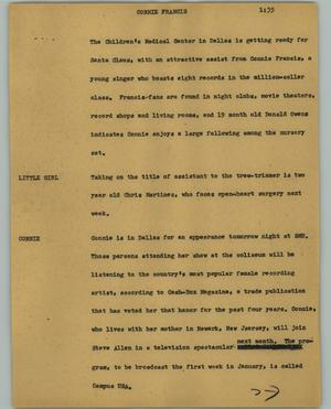 Primary view of object titled '[News Script: Connie Francis]'.