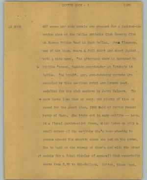 Primary view of object titled '[News Script: Cotton show]'.