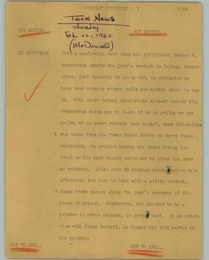 Primary view of object titled '[News Script: Convict convicted]'.